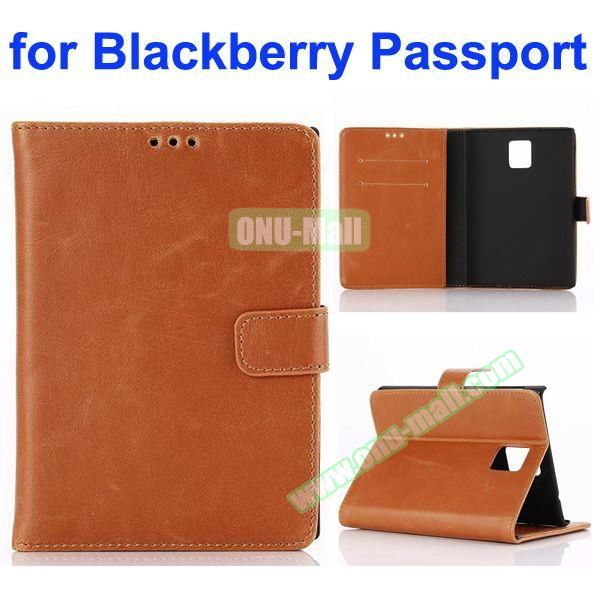 Retro Crazy Horse Texture Flip Leather Case for Blackberry Passport with Card Slots (Coffee)