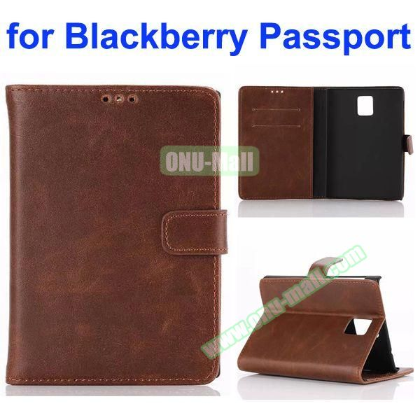 Retro Crazy Horse Texture Flip Leather Case for Blackberry Passport with Card Slots (Brown)