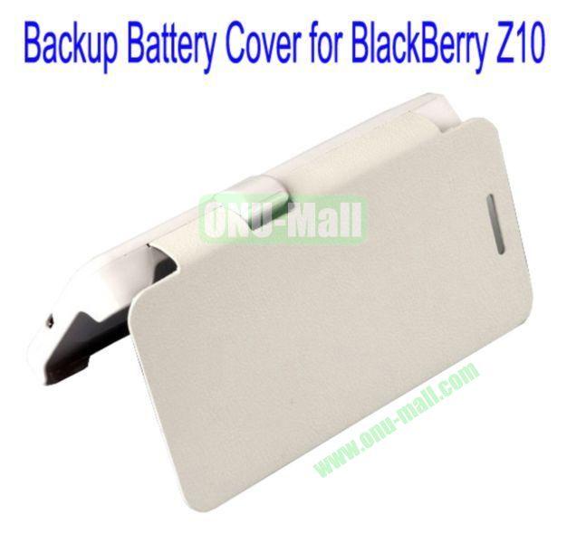 2000mAh Power Front Flip Leather Cover Back Case External Battery for BlackBerry Z10(White)