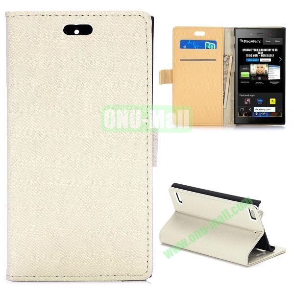 Cloth Texture Flip Stand Leather Case for BlackBerry Z3 with Magnetic (White)