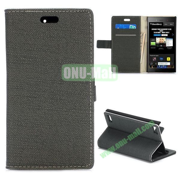 Cloth Texture Flip Stand Leather Case for BlackBerry Z3 with Magnetic (Black)