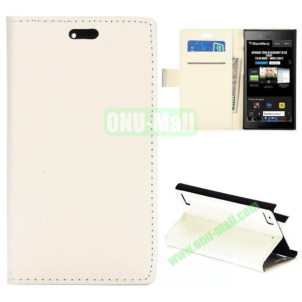 Crazy Horse Texture Flip Leather Cover for BlackBerry Z3 with Card Slots (White)