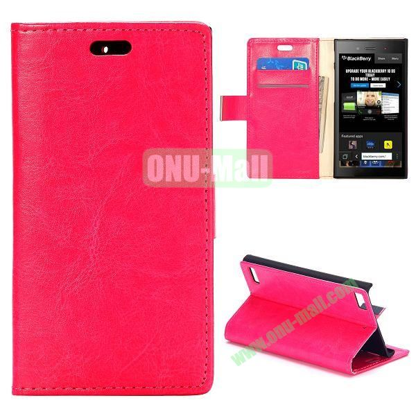 Crazy Horse Texture Flip Leather Cover for BlackBerry Z3 with Card Slots (Rose)