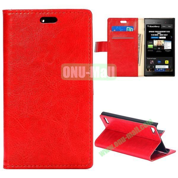 Crazy Horse Texture Flip Leather Cover for BlackBerry Z3 with Card Slots (Red)
