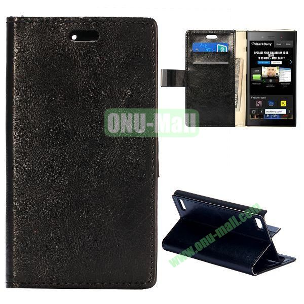 Crazy Horse Texture Flip Leather Cover for BlackBerry Z3 with Card Slots (Black)
