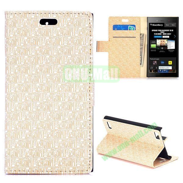 Maze Pattern Wallet Design Flip Leather Case for Blackberry Z3 with Card Slots and Stand (Beige)
