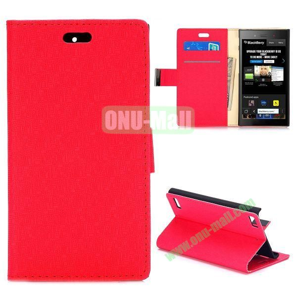 Maze Pattern Wallet Design Flip Leather Case for Blackberry Z3 with Card Slots and Stand (Red)