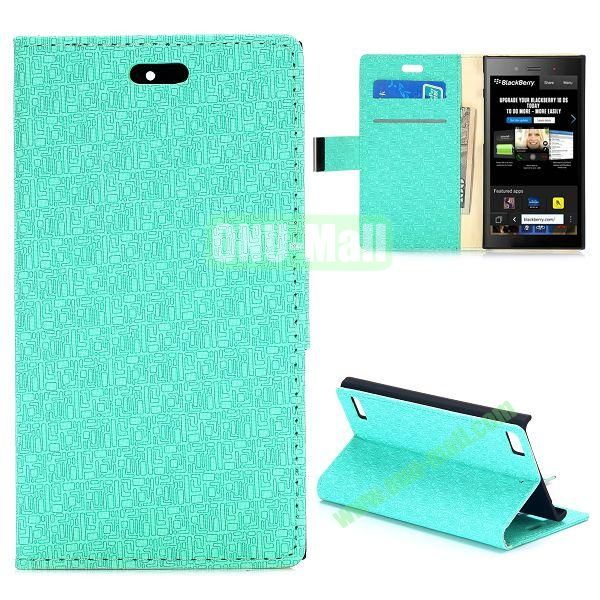 Maze Pattern Wallet Design Flip Leather Case for Blackberry Z3 with Card Slots and Stand (Baby Blue)