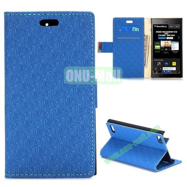 Maze Pattern Wallet Design Flip Leather Case for Blackberry Z3 with Card Slots and Stand (Blue)