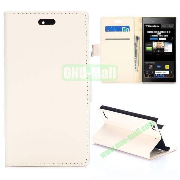 Smooth Texture Wallet Design Flip Leather Case for Blackberry Z3 with Card Slots and Stand (White)
