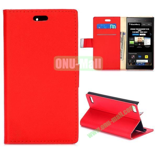 Smooth Texture Wallet Design Flip Leather Case for Blackberry Z3 with Card Slots and Stand (Red)