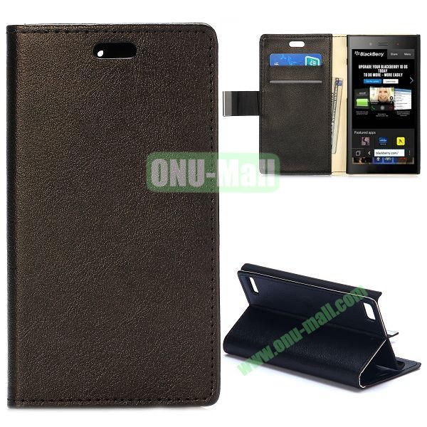 Smooth Texture Wallet Design Flip Leather Case for Blackberry Z3 with Card Slots and Stand (Black)