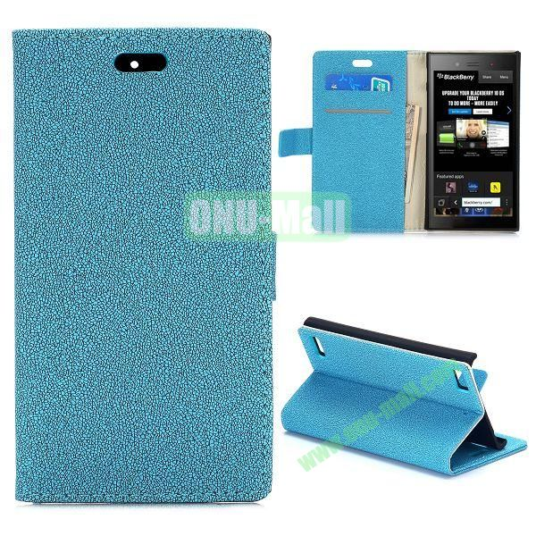Gravel Texture Wallet Style PU Leather Case for Blackberry Z3 (Blue)