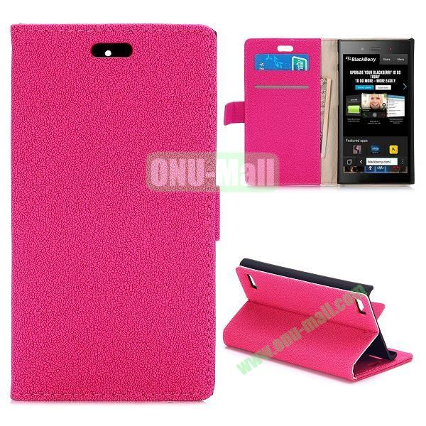 Gravel Texture Wallet Style PU Leather Case for Blackberry Z3 (Rose)