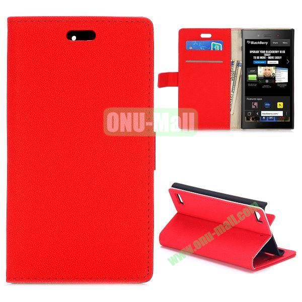 Gravel Texture Wallet Style PU Leather Case for Blackberry Z3 (Red)