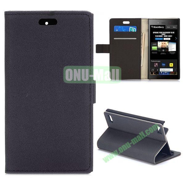 Gravel Texture Wallet Style PU Leather Case for Blackberry Z3 (Black)