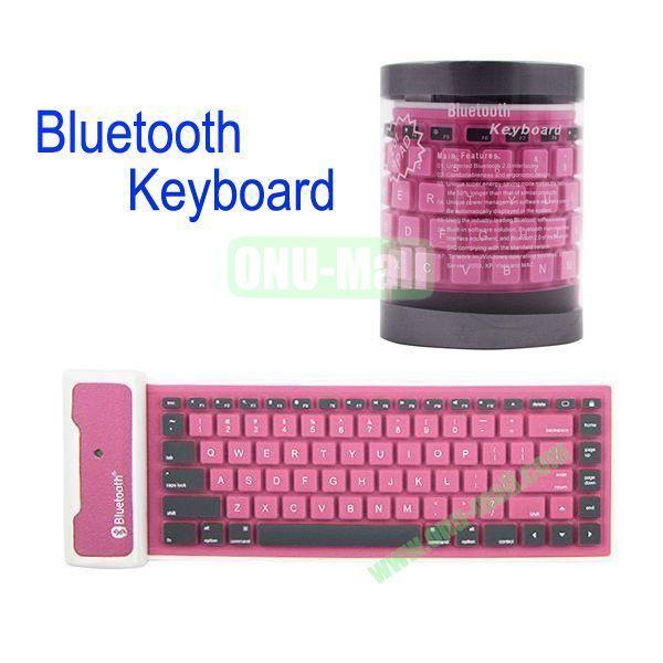 Flexible Folding Bluetooth Silicone Keyboard for iPad MiniiPad 2the New iPadiPad 4(Pink)