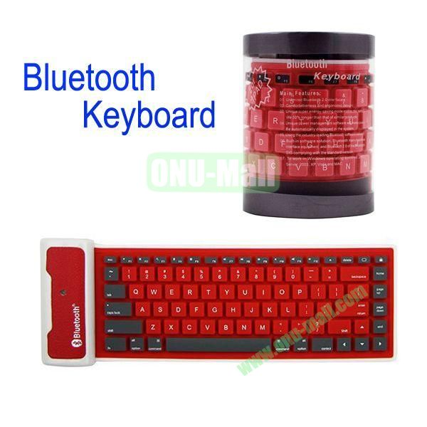 Flexible Folding Bluetooth Silicone Keyboard for iPad MiniiPad 2the New iPadiPad 4(Red)