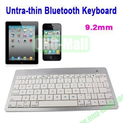 Mini Untra-thin Bluetooth Keyboard for iPad 5iPhone 5CiPhone 4 & 4S  iPhone 3G S  the New iPad (iPad 3)  iPad  App system Laptop or Desktop(White)