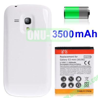 3500mAh Replacement Lithium-ion Battery + Back Cover for Samsung GALAXY S3 Mini  I8190 (White)