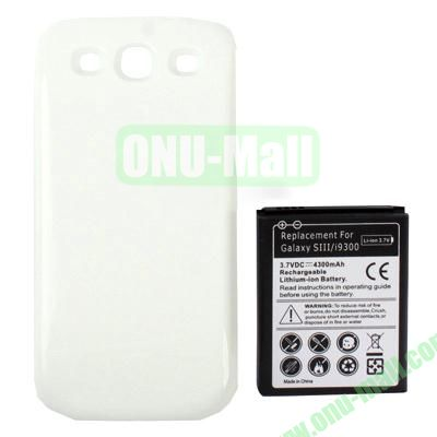 4300mAh Replacement Lithium-ion Battery+Back Cover for Samsung Galaxy S3  I9300 (White)