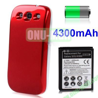4300mAh Replacement Lithium-ion Battery+Back Cover for Samsung Galaxy S3  I9300 (Red)