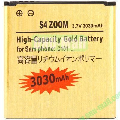 High Quality 3.7V 3030mAh High Capacity Replacement Rechargeable Gold Li-ion Polymer Battery For Samsung Galaxy S4 Zoom  C1010