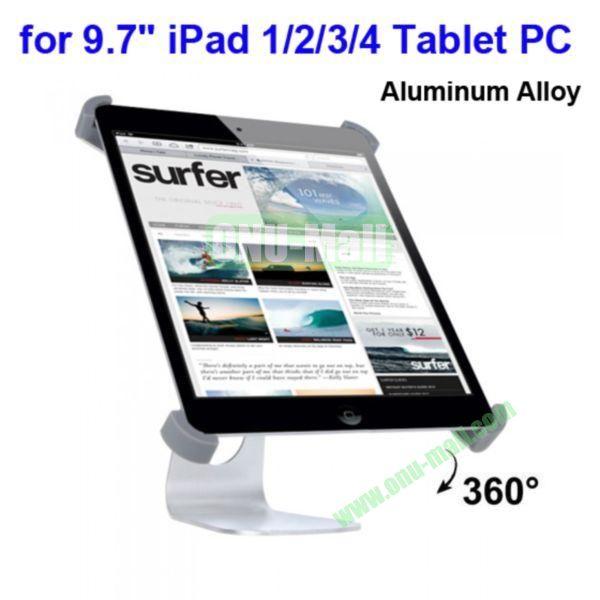360 Degree Rotatable Aluminum Alloy Holder Stand for 9.7 iPadiPad 2The New iPadiPad 4 Tablet PC(Silver)