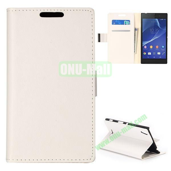 Simple Wallet Style Side Flip Leather Case for Sony Xperia G D5103 (White)