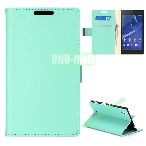 Simple Wallet Style Side Flip Leather Case for Sony Xperia G D5103 (Light Green)