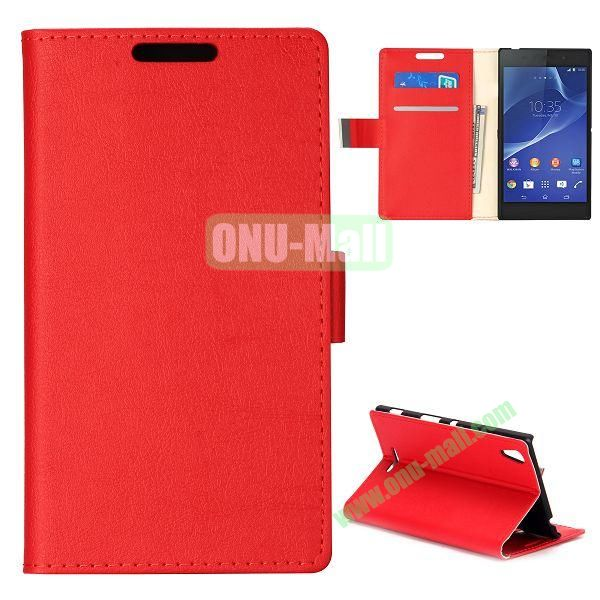 Simple Wallet Style Side Flip Leather Case for Sony Xperia G D5103 (Red)