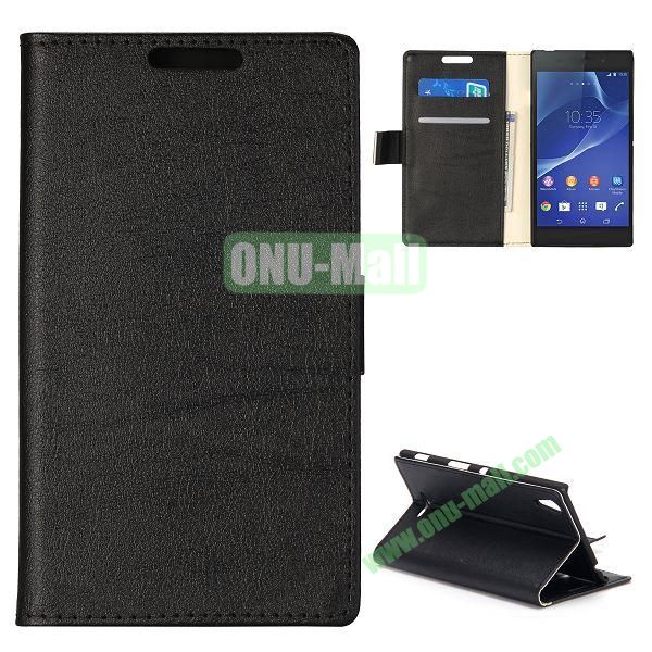 Simple Wallet Style Side Flip Leather Case for Sony Xperia G D5103 (Black)