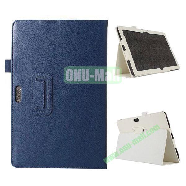 Litchi Texture Flip Stand Leather Case for Dell Venue 11 Pro (Dark Blue)