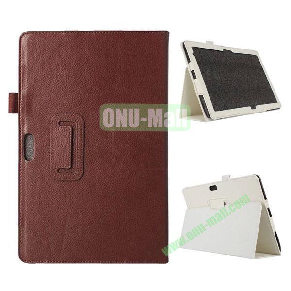 Litchi Texture Flip Stand Leather Case for Dell Venue 11 Pro (Brown)
