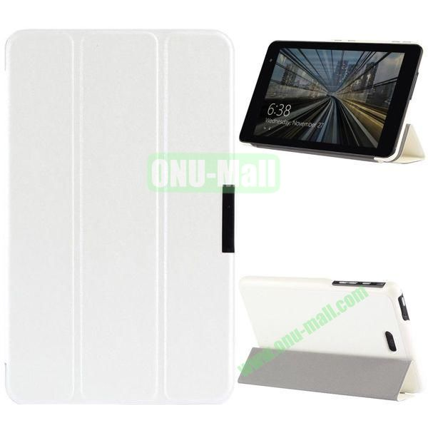 3-folding PU Leather Case Cover with Shinning Powder for Dell Venue 8 Pro (White)