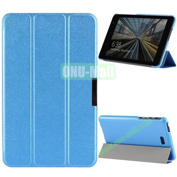 3-folding PU Leather Case Cover with Shinning Powder for Dell Venue 8 Pro (Blue)