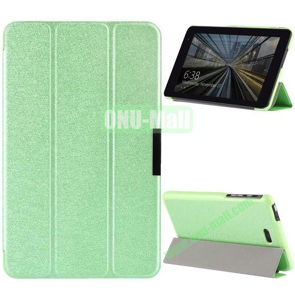 3-folding PU Leather Case Cover with Shinning Powder for Dell Venue 8 Pro (Green)