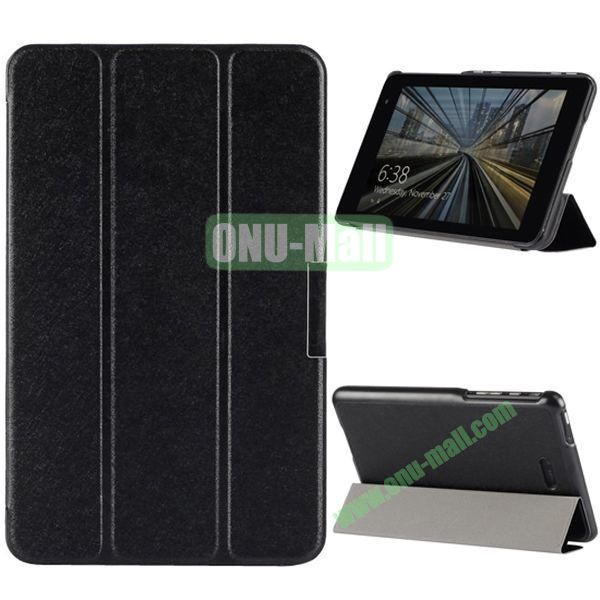 3-folding PU Leather Case Cover with Shinning Powder for Dell Venue 8 Pro (Black)