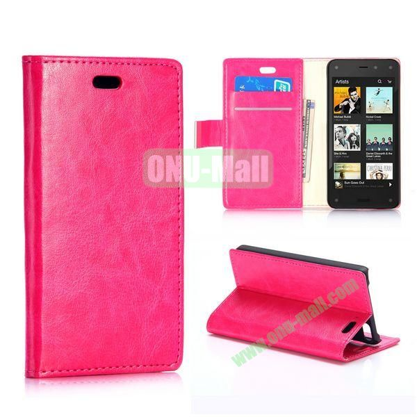 Crazy Horse Texture Foldable Flip Stand Leather Case for Amazon Fire Phone with Card Slots (Rose)