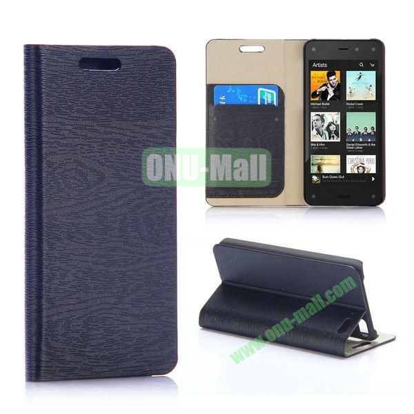 Wood Grain Pattern Flip Stand Leather Case For Amazon Fire Phone (Black)