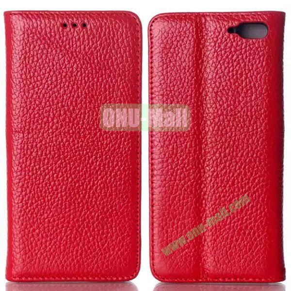 Litchi Texture Flip Leather Case for Amazon Fire Phone with Card Slots (Red)