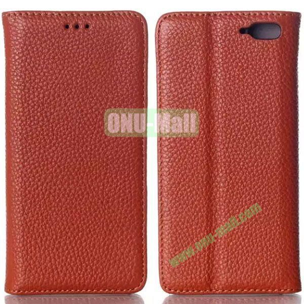 Litchi Texture Flip Leather Case for Amazon Fire Phone with Card Slots (Brown)
