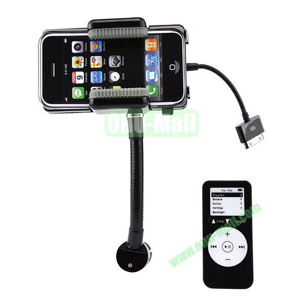 Rotatable Hands Free Car Charger with Car Holder and FM Transmitter and Remote Control for iPhone 4