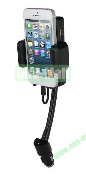 Rotatable Hands Free in Car Charger with and Holder and FM Transmitter, 8 Pin Plug for iPhone 5, 3.5mm Audio Cable
