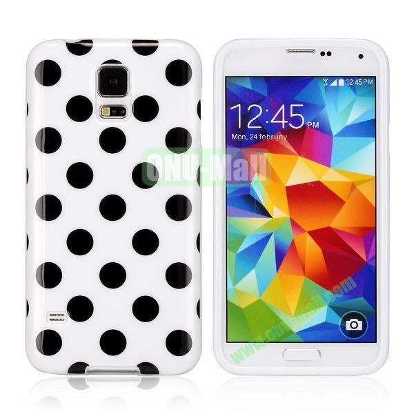 Fashionable Polka Dots Glossy TPU Case Cover for Samsung Galaxy S5i9600 (White)