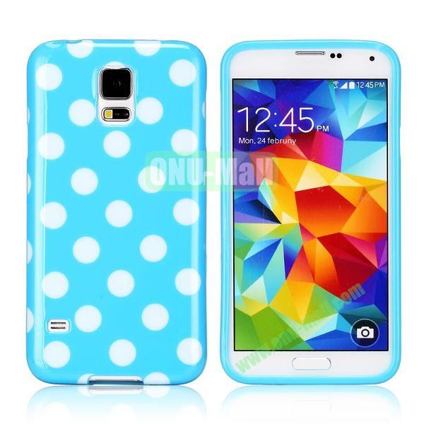Fashionable Polka Dots Glossy TPU Case Cover for Samsung Galaxy S5i9600 (Blue)