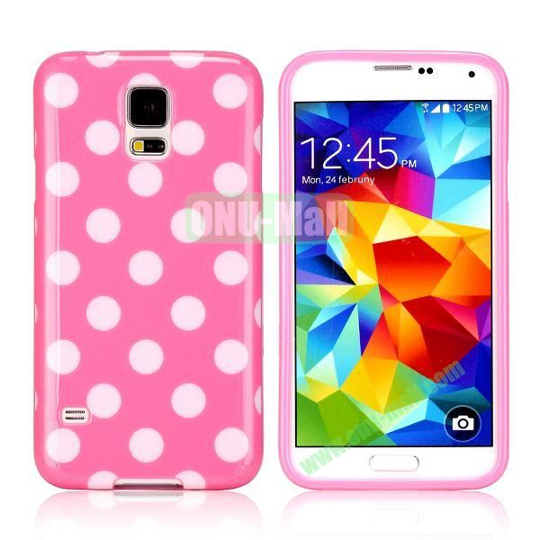 Fashionable Polka Dots Glossy TPU Case Cover for Samsung Galaxy S5i9600 (Light Pink)