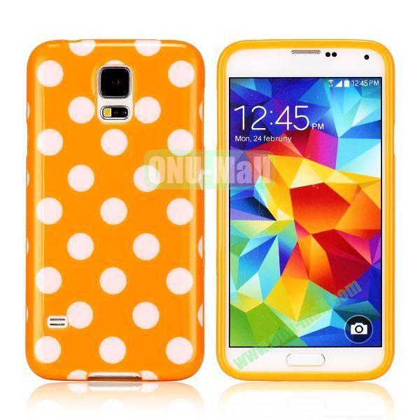 Fashionable Polka Dots Glossy TPU Case Cover for Samsung Galaxy S5i9600 (Orange)