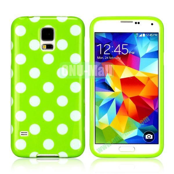 Fashionable Polka Dots Glossy TPU Case Cover for Samsung Galaxy S5i9600 (Green)