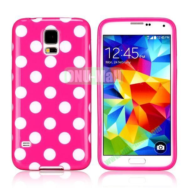 Fashionable Polka Dots Glossy TPU Case Cover for Samsung Galaxy S5i9600 (Light Red)